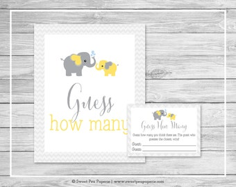 Elephant Baby Shower Guess How Many Game - Printable Baby Shower Guess How Many Game - Yellow and Gray Elephant Baby Shower - SP103