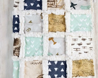 Ready to Ship Vintage Airplane Quilt