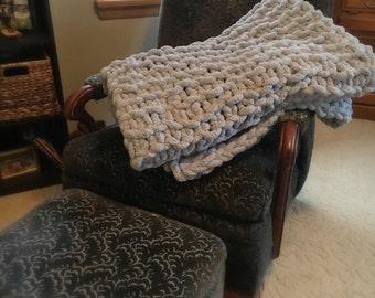 Chunky hand-knit throw blanket