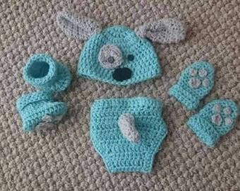 Baby puppy crochet outfit