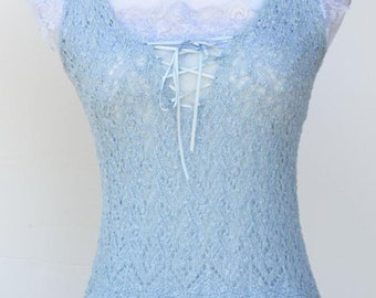 Vintage super sexy lace tank top blouse light blue size XS ladies blouse women's top summer top