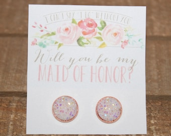 Will you be my Maid of Honor, Matron of Honor, Bridesmaid & Flower Girl Earring Set