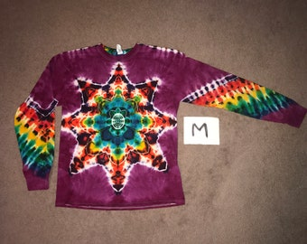 Tie Dye T-Shirt ~ Fire Mandala With Raspberry Background ~ i_9135 in Long Sleeve Adult Medium