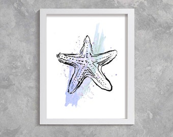 starfish print, starfish watercolor print, starfish art, starfish poster, bathroom decor, starfish printable art, sea print, sea watercolor