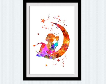 Cute girl watercolor poster Girl on the moon print Fairy tale illustration Girls room decor Nursery room art decor Kids room decoration W821