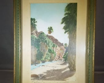 Vintage-Picture-1950's-Framed-Palm Canyon-California-Frasher-Fotos-Home Decor-Wall Hanging
