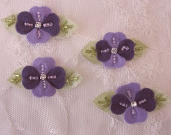 4pc Handmade Lavender Purple Felt Flower Applique Embellished Seed Bugle Beaded Rhinestone Baby Bow