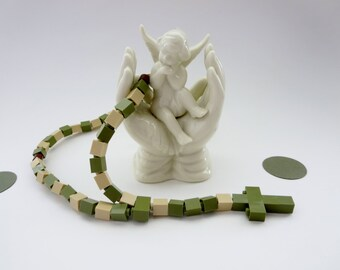 Children's Rosary - Rosary made of  Lego® Bricks  - Army Green and Beige Camouflage Rosary