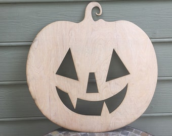 Toothy Face Pumpkin Door Hanger - Large - 5mm Thick Plywood Unfinished