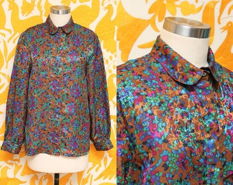 Confetti Blouse // Silky Brown Colorful Top // 80s Jean de Pierre Boho Long Sleeve Collared Shirt Fun Whimsical Size Medium