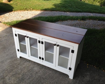 Painted Media Consoles, White Rustic TV Stands, Media Centers, Media Consoles