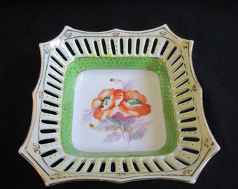 Decorative trinket dish with reticulated rim, AIYO Made in Occupied Japan Hand Painted China Dish