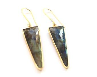 Earrings, Labradorite Earrings, Gold Earrings, Madagascar Amazonite, Gift Boxed Earrings, Gift for Her, Gemstone Earrings, Gift for Wife, 2B