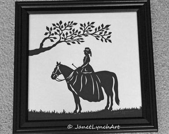 Horse Show  - Equine Lady Side Saddle Tree - English - Hand Paper Cutting Art signed and dated By Janet Lynch - Framed