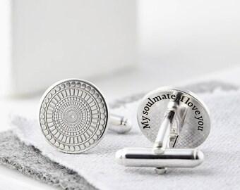 Silver Personalised Cufflinks, Secret Message, Custom Cufflinks, Handmade Cufflinks, Wedding Cufflinks, Groom Cufflinks, Gift for Him, Men