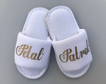 Petal Patrol slippers, flower girl slippers, bridesmaid slippers, page boy slippers, ring bearer slippers, petal patrol, personalised