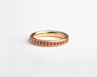 Ruby Eternity Band, Ruby Wedding Band Ring, Ruby Stack Ring, Women's 18k Gold Ruby Ring, Ruby Eternity Ring, Classic Pave Infinity Ring Mod