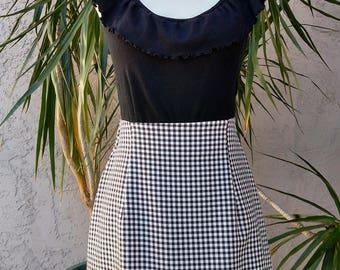 1980's All That Jazz white skirt, black checkered, knee length, high waist, houndstooth