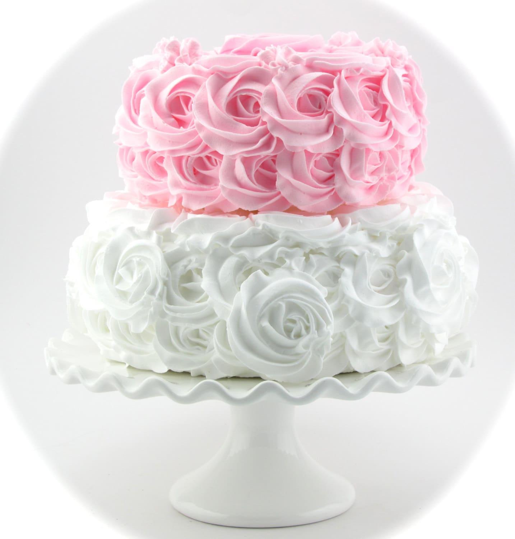 Rosette Fake Cake Pink White Stackable Rosette Cake 2 Tier