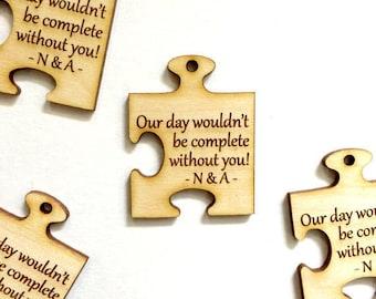 Wedding puzzle piece favor tags - jigsaw wedding tags (set of 15)
