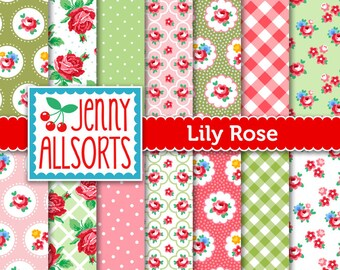 Shabby Chic Digital Paper Lily Rose - Pink and Green - for invites, card making, digital scrapbooking