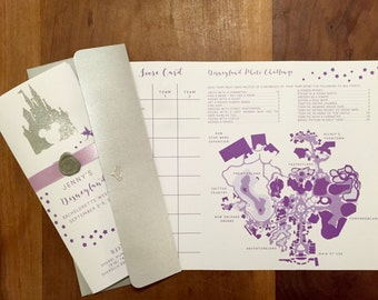 Printed Custom | Disneyland | Bachelorette | Invite | Itinerary