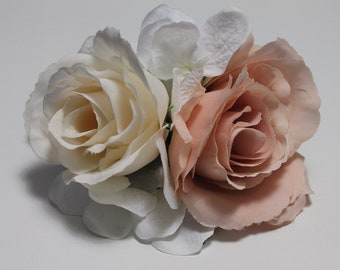 Rose and hydrangea hair clip / fascinator in cream and antique rose pink
