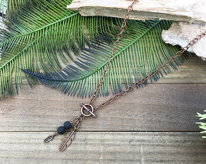 Handcraft jewelry, boho necklace, diffuser necklace, feather charm
