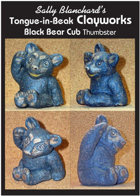 Black Bear Cub Thumbster - Sally Blanchard's One-of-a-Kind Tongue-in-Beak Clayworks