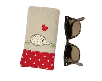 Soft Padded Glasses Case, Sunglasses Holder, Hedgehog Reading Glasses Pouch, Personalised Mothers Day Gift