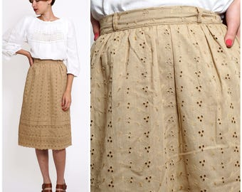 Vintage 1950s Light Brown Tan Eyelet Tiered Midi Skirt by Lady Manhattan | XS/Small