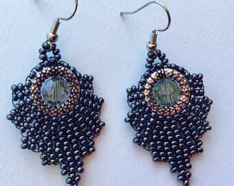 Hematite Chic Bohemian Glass Bead Earrings with Black Diamond Swarovski Crystal