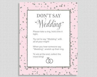 Don't Say Wedding Bridal Shower Game Sign, Pink & Silver Glitter Confetti Wedding Shower Game, Bridal Shower Game, INSTANT PRINTABLE