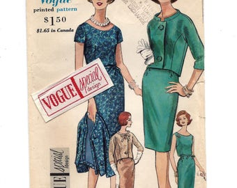 1960s Vogue 4217, One Piece Dress and Jacket, Vogue Special Design with Label, UNCUT FF Sewing Pattern, Bust 36 Size 16