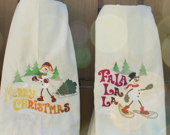 Snowy Celebrations Snowmen  Dish Towels (Embroidered)