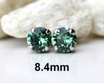 8.4mm Erinite Xirius Studs, Crystal Earrings, Studs in Settings, I make these earrings with Sparkling Crystals from Swarovski