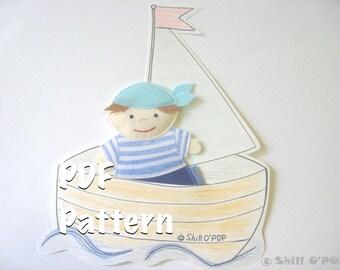 PDF Pattern Felt Toy Seaman Two Finger Puppet Sea Themed Games Sailor