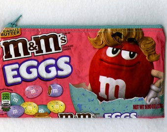 NEW! 2018 Easter Design M&M's Peanut Butter Candy Wrapper Up-cycled Zippered Bag/Pouch