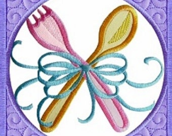 Machine Embroidery Design Baby Quilt Block Fork and Spoon