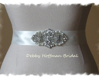 Rhinestone Crystal Pearl Beaded Bridal Sash, Pearl Jeweled Wedding Dress Belt, Pearl Crystal Wedding Sash, Jeweled Bridal Belt, No. 4065S1.5