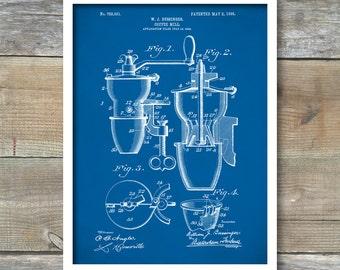 Patent 1905 Coffee Mill, Coffee Grinder, Wall Art Print, Kitchen Art, Poster, Restaurant Wall Art, Coffee Shop Wall Art, P288