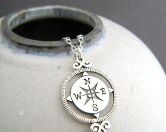 sterling silver compass necklace small simple everyday jewelry north pendant directions travel charm graduation gift for traveler new grad