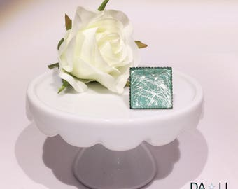 """Ring """"Silver threads"""", gray-green color"""