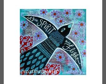SALE - Let Your Spirit Take Flight - Blackbird Flying - 8 x 8 Art Print