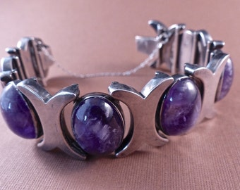 Vintage JB Sterling Taxco Heavy Bracelet with Large Amethyst Cabochons