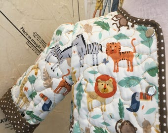 Quilted baby jacket, jungle print.
