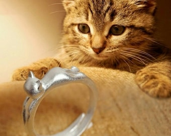 Sterling silver super cute cat kitty ring!