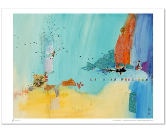 Art print,poster, limited edition prints,turquoise, Giclee print, life is precious, bible, Xiaoyang Galas,personally signed by the artist