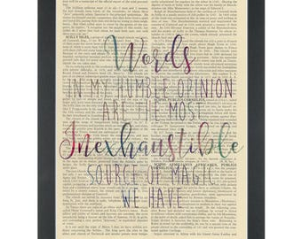 Harry Potter quote Words are source of magic Dictionary Art Print