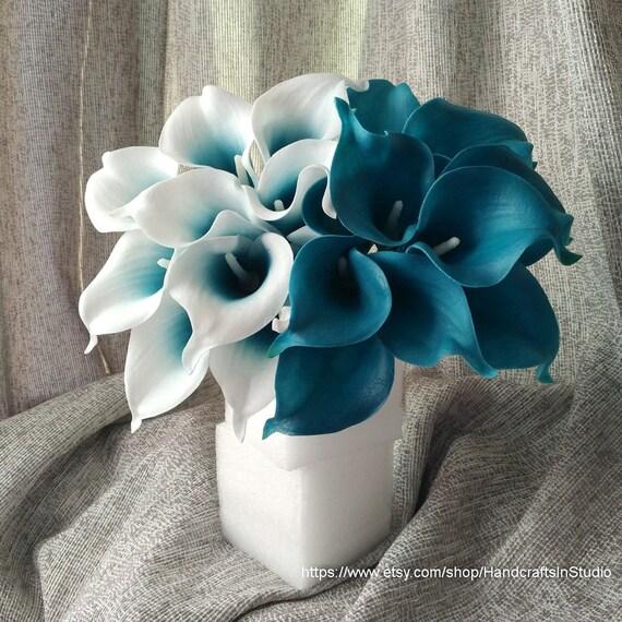 VANRINA Oasis Teal Wedding Flowers Teal Blue Calla Lilies 10